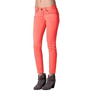 Free People Coral Skinny Jeans LIKE NEW!